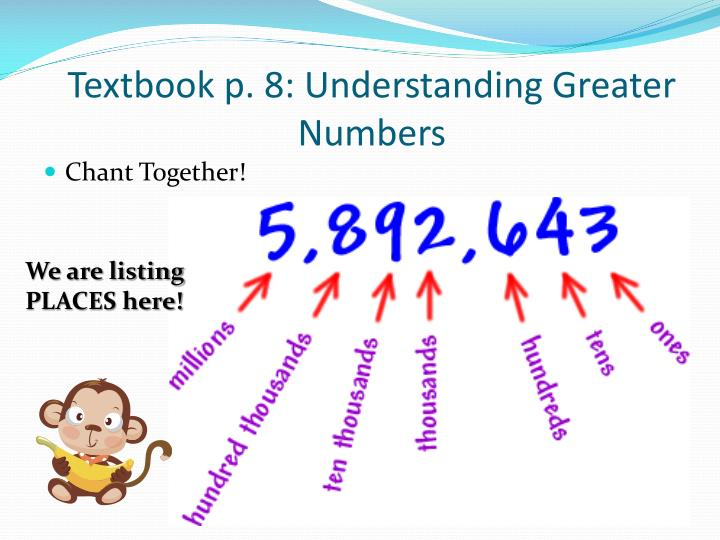 Textbook p. 8: Understanding Greater Numbers