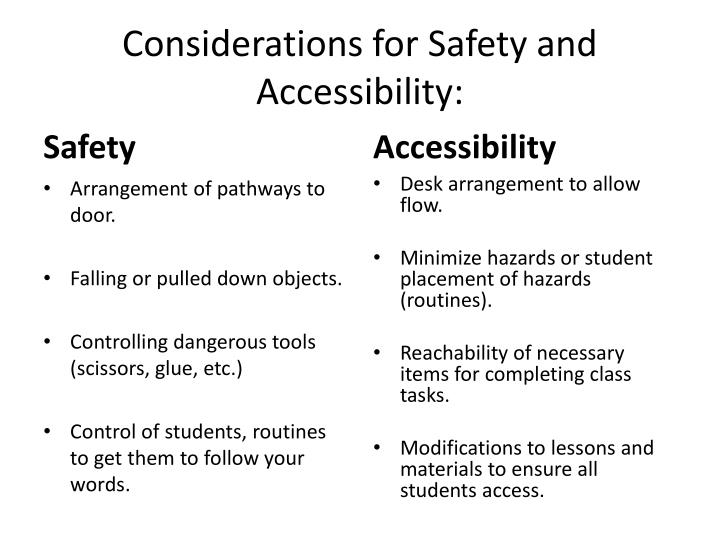 Considerations for Safety and Accessibility: