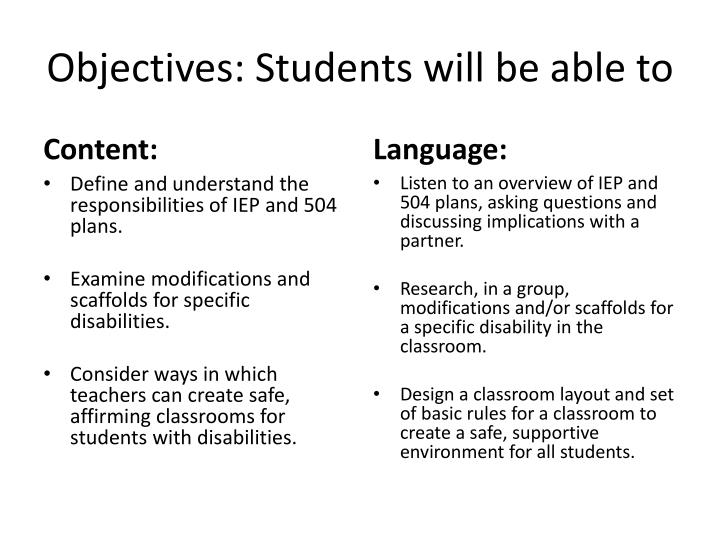 Objectives: Students will be able to