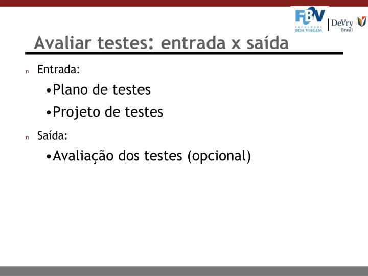 Avaliar testes