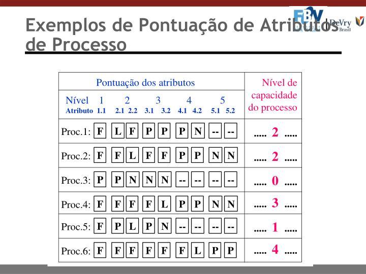 Exemplos de Pontuação de Atributos de Processo