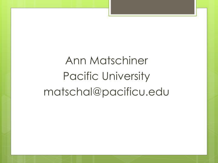 Ann Matschiner