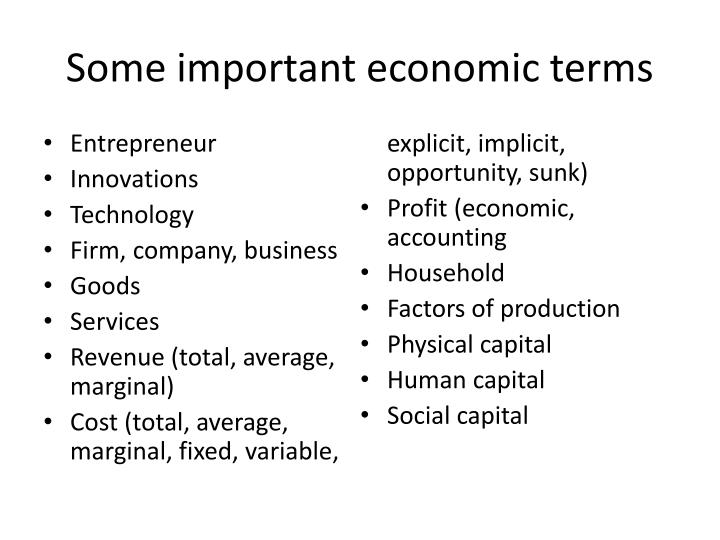 Some important economic terms