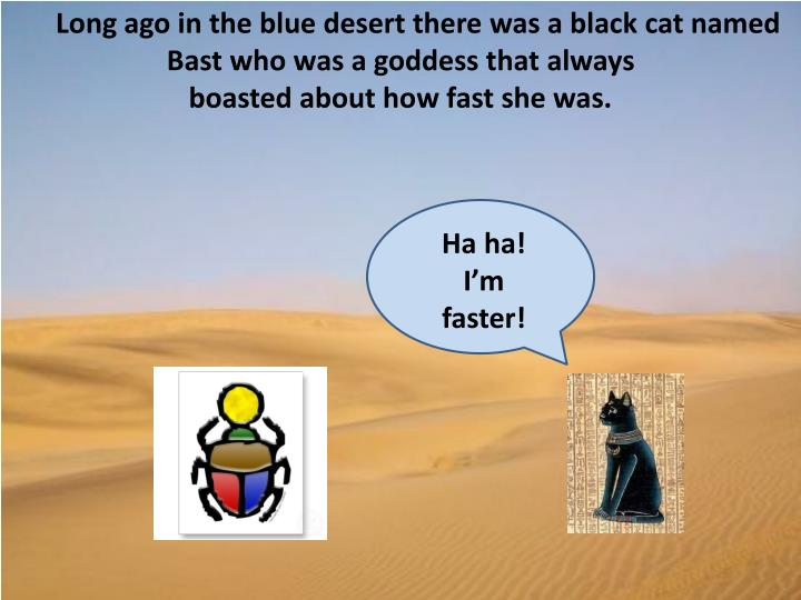 Long ago in the blue desert there was a black cat named