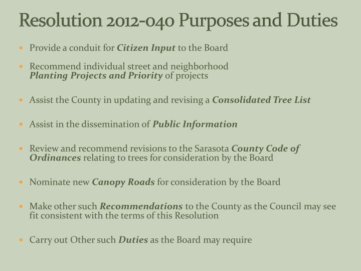 Resolution 2012 040 purposes and duties