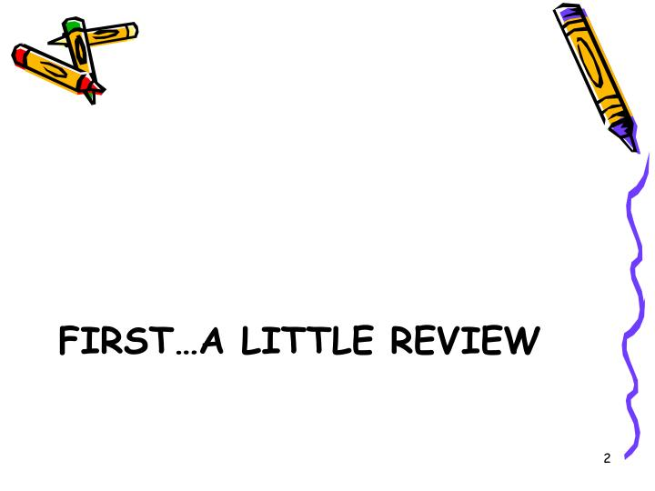 First a little review