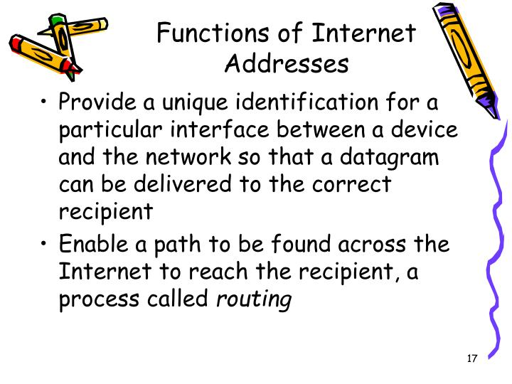 Functions of Internet Addresses