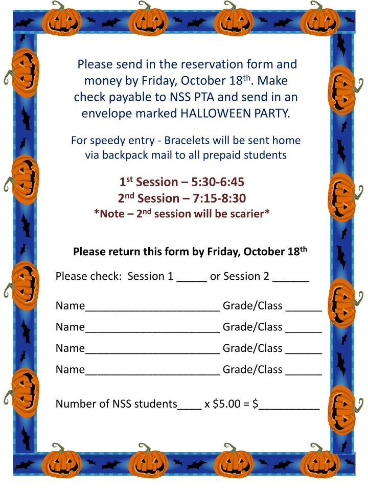Please send in the reservation form and money by Friday, October 18