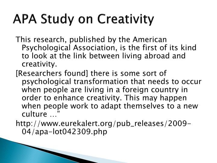 APA Study on Creativity