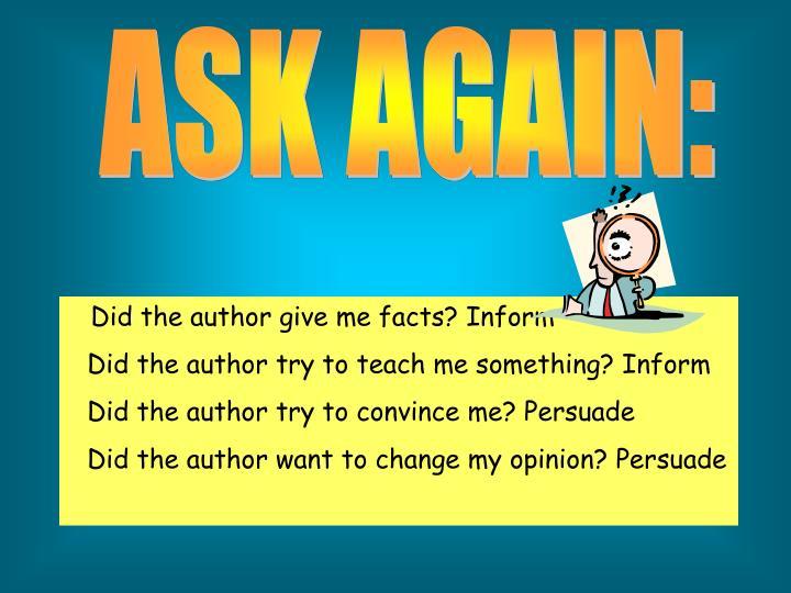 ASK AGAIN: