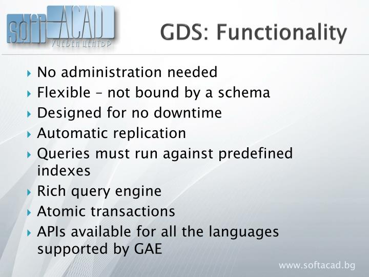 GDS: Functionality
