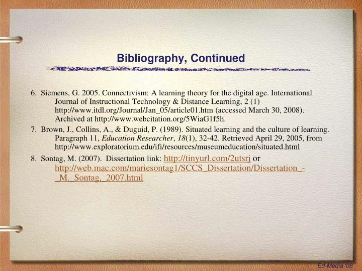 Bibliography, Continued