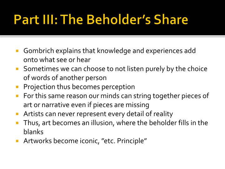 Part III: The Beholder's Share