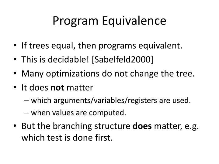 Program Equivalence