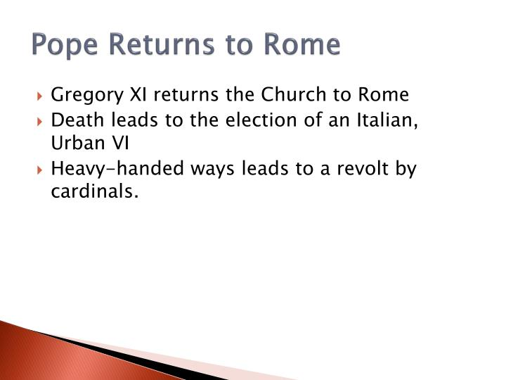 Pope Returns to Rome