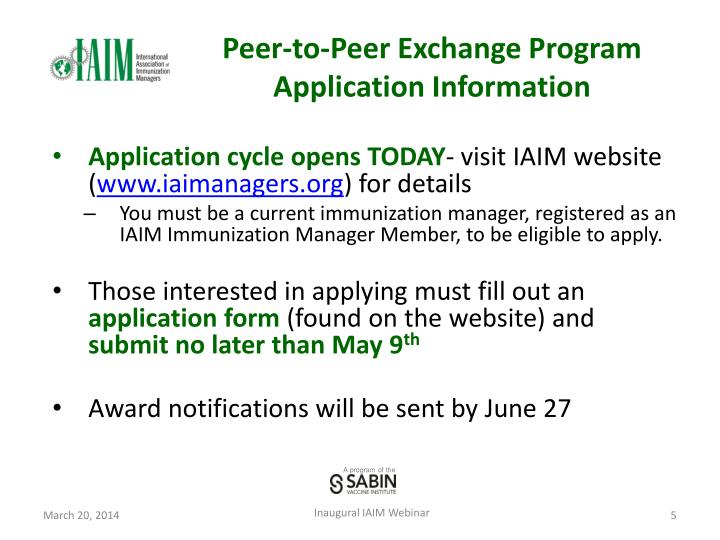 Peer-to-Peer Exchange Program Application Information