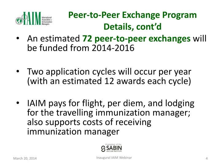 Peer-to-Peer Exchange Program Details, cont'd