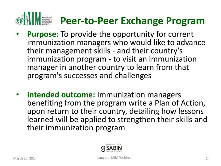 Peer-to-Peer Exchange Program