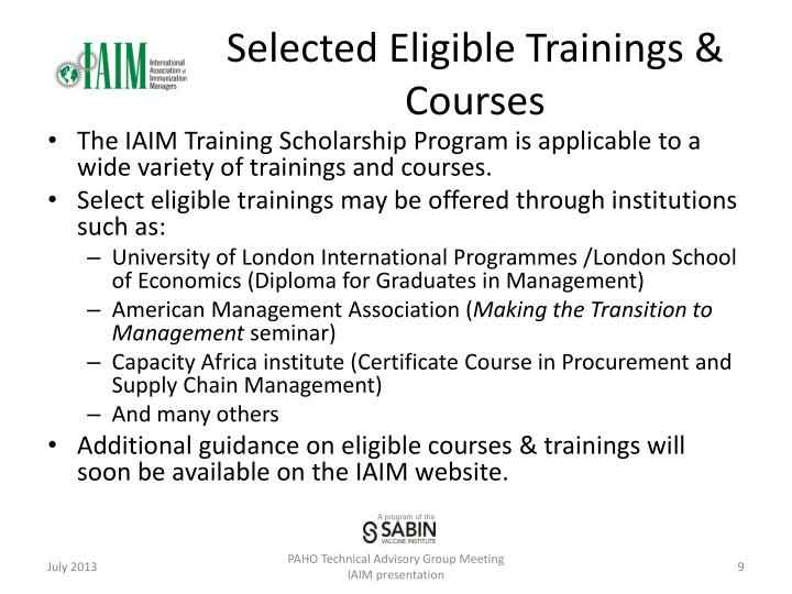 Selected Eligible Trainings & Courses
