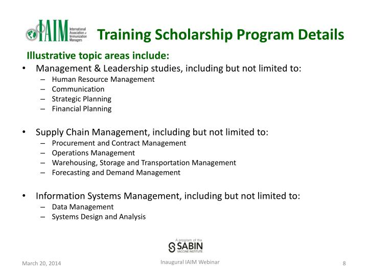 Training Scholarship Program Details