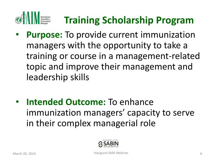 Training Scholarship Program