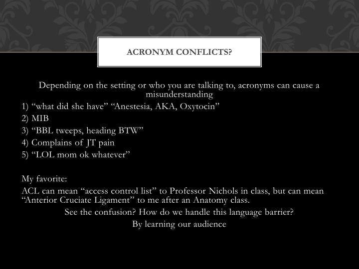 Acronym Conflicts?