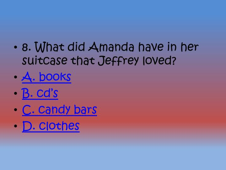 8. What did Amanda have in her suitcase that Jeffrey loved?