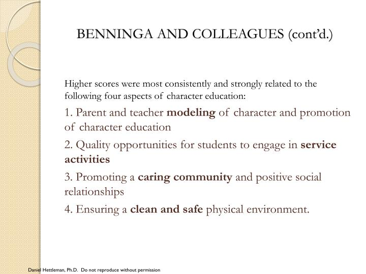 BENNINGA AND COLLEAGUES (cont'd.)