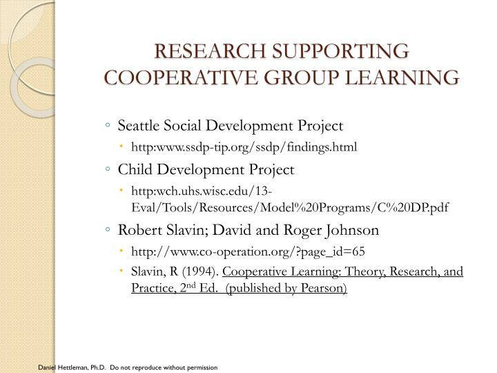 RESEARCH SUPPORTING COOPERATIVE GROUP LEARNING
