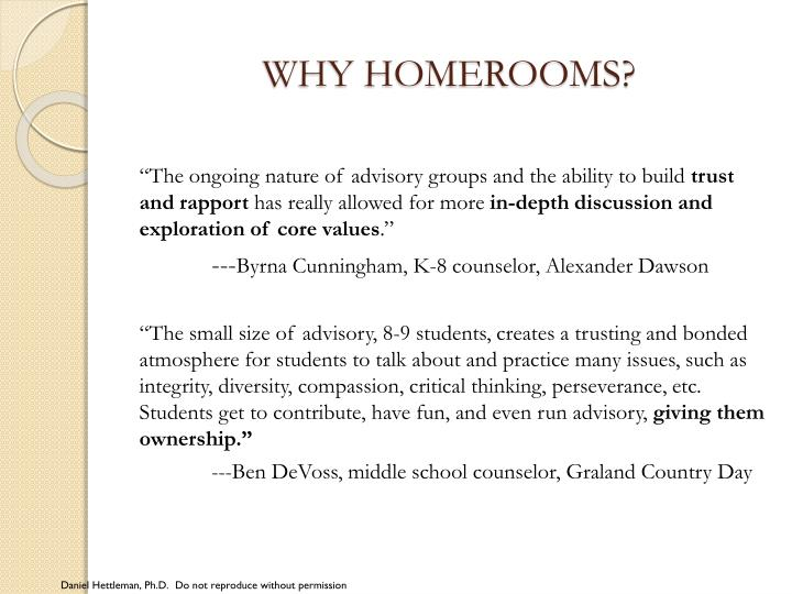 WHY HOMEROOMS?