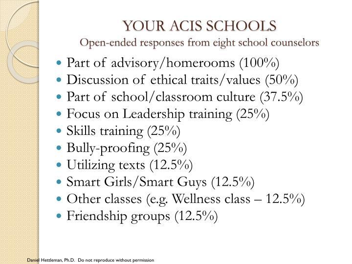 YOUR ACIS SCHOOLS