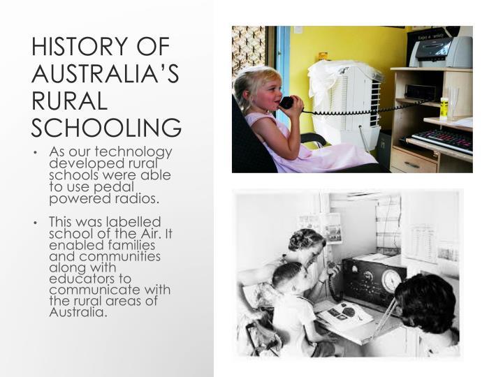 History of Australia's Rural Schooling