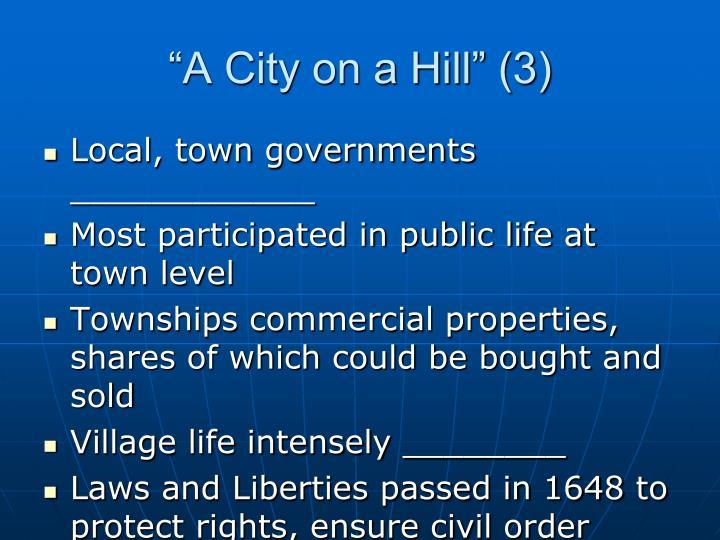 """A City on a Hill"" (3)"