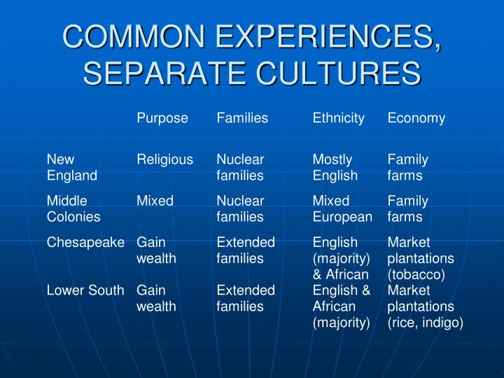 COMMON EXPERIENCES, SEPARATE CULTURES