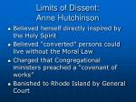 limits of dissent anne hutchinson