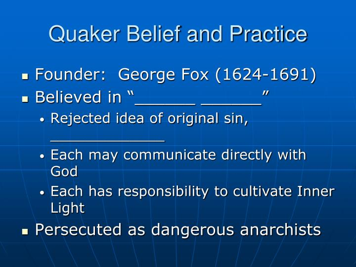 Quaker Belief and Practice