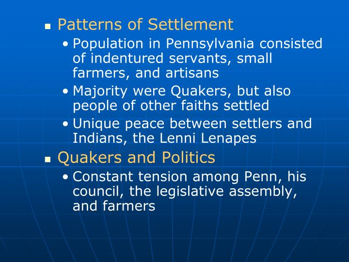 Patterns of Settlement