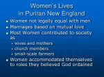 women s lives in puritan new england