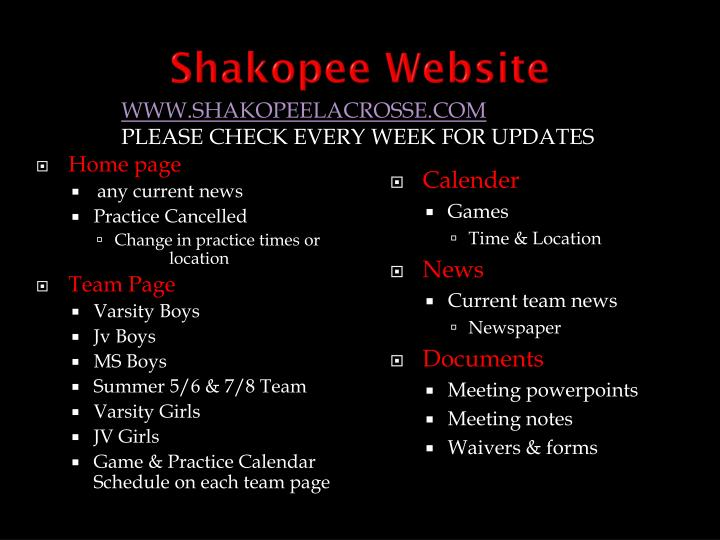 Shakopee Website