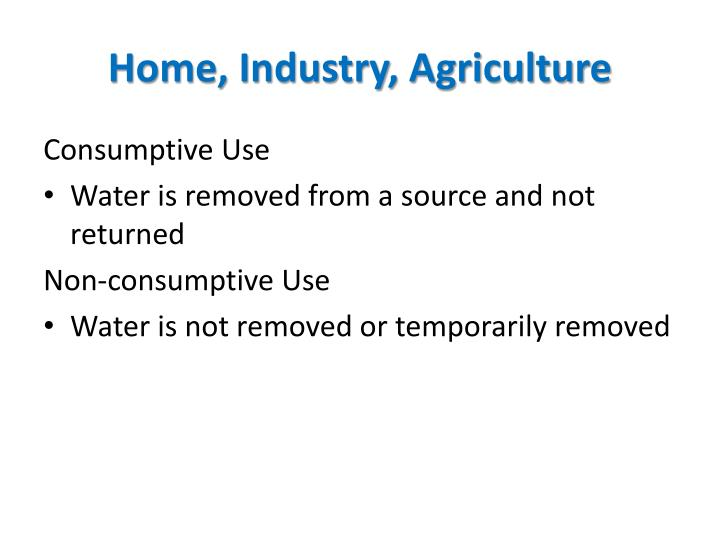 Home, Industry, Agriculture