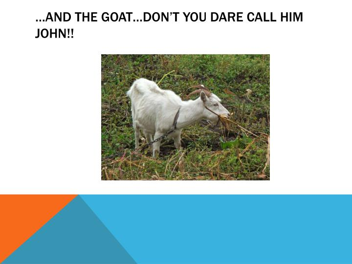 …and the goat…don't you dare call him John!!