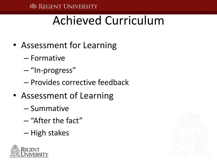Achieved Curriculum