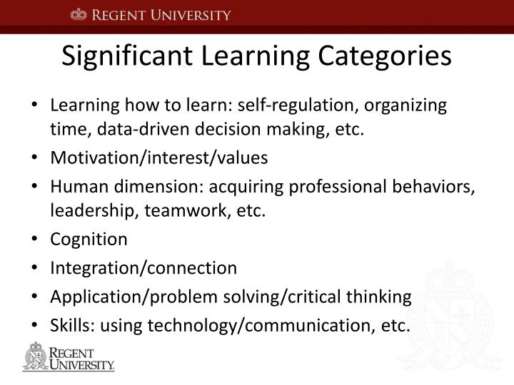 Significant Learning Categories