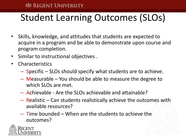 Student Learning Outcomes (SLOs)