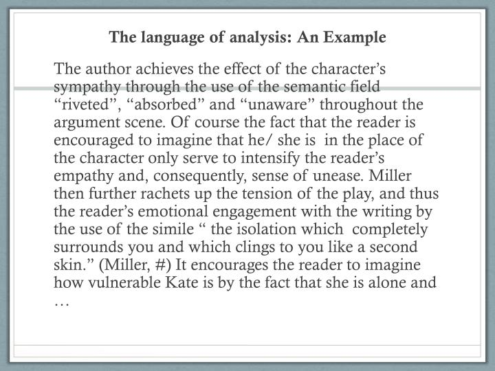 The language of analysis: An Example