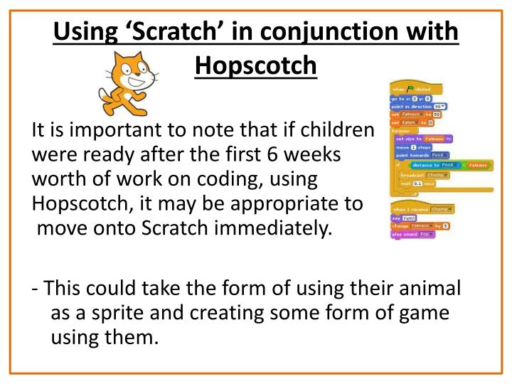 Using 'Scratch' in conjunction with Hopscotch