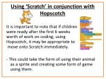 using scratch in conjunction with hopscotch