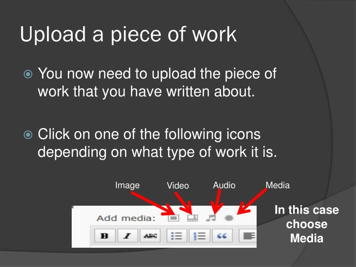 Upload a piece of work