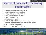 sources of evidence for monitoring pupil progress