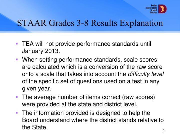 Staar grades 3 8 results explanation